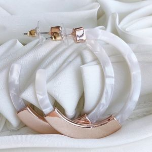 Rose Gold Acrylic Hoop Earrings